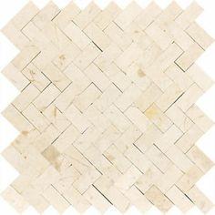 polished crema marfil mosaic   ... Mini Herringbone Crema Marfil Beige Polished Marble Mosaic Tile   eBay