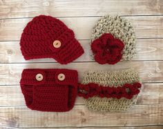 Twins Photography Prop Set in Cranberry and by mamamegsyarnshoppe