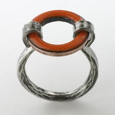 Lifesaver Enamel Ring, Tangerine Orange Glass Enamel and Sterling Silver, Made to Order in US Sizes 6 to 11, Alternative Wedding Band www.oconcolor.com