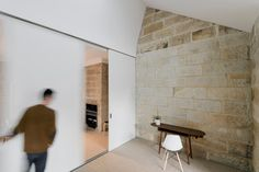 Sandstone walks with smooth white wall insert.