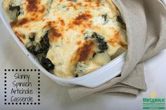 Pin-to-Win Holiday Recipe #5 - Spinach Artichoke Casserole - Need the perfect party dip? Love ooey, gooey spinach dip? You have to try our recipe for Spinach Artichoke Casserole. This is an MRC client favorite year after year and with your first bite you'll understand why. #mrcmeals