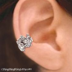 925 Rose Garden  Sterling Sliver ear cuff earring by RingRingRing, $45.00 would go well with the rose locket.