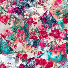 Patchwork4 / Patchwork / Floral Patchwork / Seamless #floral #pattern, #flowers #interior #fashion #moda #repeat #patchwork #blue #red