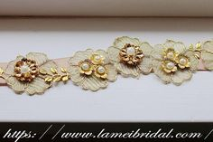 Golden Lace Flower Wedding Bridal Belt with Champagne ribbon