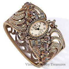 "HSN Heidi Daus Object D'Art Amber Crystal Bracelet 6.5"" Watch New"