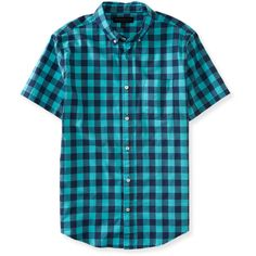 Aeropostale Gingham Woven Shirt ($16) ❤ liked on Polyvore featuring men's fashion, men's clothing, men's shirts, men's casual shirts, aquatic blue, mens patterned shirts, mens gingham shirt, mens print shirts, mens woven shirts and mens gingham check shirt