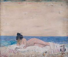 Nude Female Model (Reading On The Seashore), William Orpen (Irish, Oil on canvas. Royal Academy of Arts (Burlington House). Orpen worked mainly in London but he kept up links with. Female Art, Female Models, Burlington House, Glasgow Museum, Royal Academy Of Arts, Post Impressionism, Art Database, Vintage Artwork, Beach Art