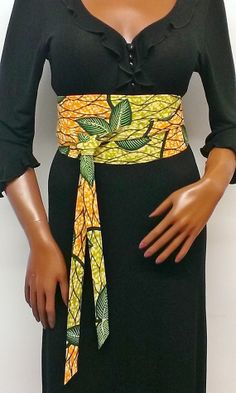 African Print Reversible Obi Style Belt by Louvoshine
