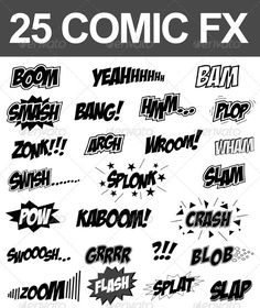 25 Comic Sound FX (Vector Set)  Get it here: http://graphicriver.net/item/25-comic-sound-fx-vector-set/2715324/?ref=nada-images