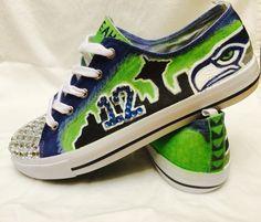 1193b0f9bb80 Hand painted Seahawk shoes GO SEAHAWKS!!!