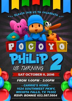 Pocoyo Invite Pocoyo invitation Pocoyo Birthday by Wrightdrawing