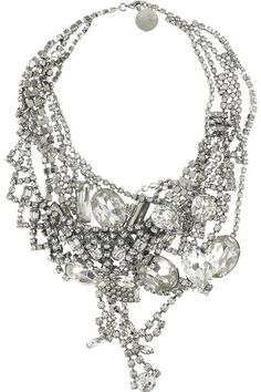 ornate-embellished-silver-diamond-necklace - Once Wed
