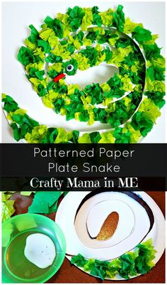 How to Make a Patterned Paper Plate Snake - Crafty Mama in ME! - How to Make a Patterned Paper Plate Snake - Paper Plate Crafts For Kids, Animal Crafts For Kids, Toddler Crafts, Art For Kids, Kids Crafts, Animal Activities, Craft Activities, Preschool Ideas, Bug Crafts