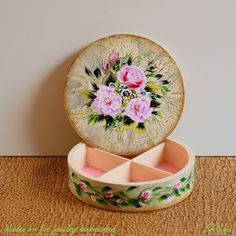 Decorative wooden box for jewelry hand-painted with acrylic upon the handmade craquelure and varnished with gloss. Decorative Wooden Boxes, Decorative Objects, Sea Flowers, Mixed Media Painting, Painting & Drawing, Serving Bowls, Framed Art, Hand Painted, Tableware