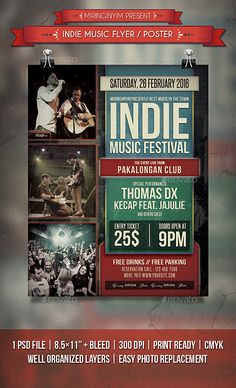 Indie Music Flyer / Poster — Photoshop PSD #band #club • Available here → https://graphicriver.net/item/indie-music-flyer-poster/14155748?ref=pxcr