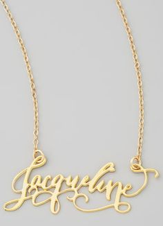 Personalized Gold Plate Calligraphy Necklace