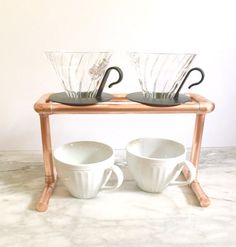 Double Pour Over Coffee Stand Industrial Drip by MacAndLexie