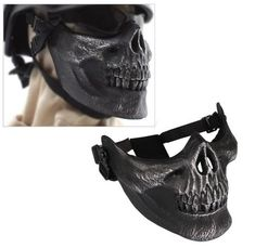 Skull Skeleton Airsoft Paintball Half Face Protect Mask for sale online Motorcycle Mask, Custom Motorcycle Helmets, Custom Helmets, Motorcycle Accessories, Biker Gear, Riding Gear, Biker Chick, Bow Sneakers, Cool Bikes
