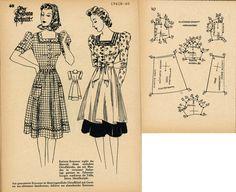 1940s (1941) German Women's Dress Lutterloh 1941B-40
