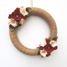 Just finished and listed this Christmas wreath! I don't mean to overlook Thanksgiving (because I love that holiday also) but I am super excited for Christmas this year. It's my favorite holiday of all! This wreath is done in tones of red, white, green, and has just enough sparkle for the holidays.
