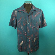 Antique silk kimono Hawaiian shirt Men US size S