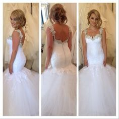 Robe De Mariage Straps Mermaid Bridal Dresses Covered Buttons White Tulle And Lace 2017 Vintage Women Wedding Gowns