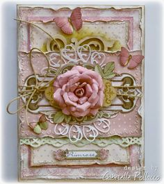 Card made by Bo Bunny Design team member Gabrielle Pollacco using 'Primrose' collection & Kraft wood embellishments