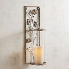Silver Metal Leaves Candle Holder Wall Sconce Candle Wall Sconces Wall Candles Leaves Candle