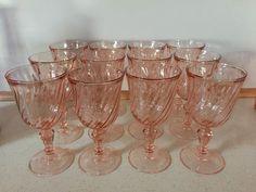 Vintage Arcoroc Rosaline France Pink Swirl Goblets Wine Water Glasses Set of 12 #Arcoroc