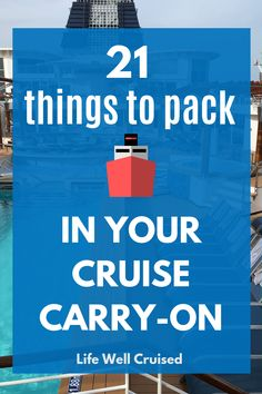 The ultimate list of everything you need to pack in your cruise carry on luggage. Make sure you've got yourself organized for the first day of your cruise. Bahamas Cruise, Cruise Port, Cruise Travel, Cruise Vacation, Vacations, Cruise Wear, Vacation Deals, Cruise Ships, Travel Deals