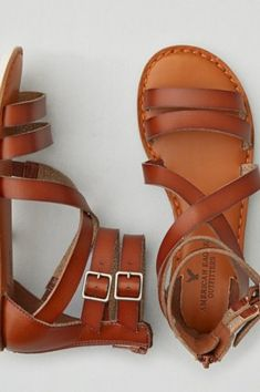 AEO Stitched Slingback Sandal , Medium Brown | American Eagle Outfitters