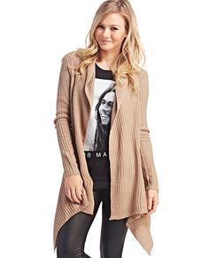 "<p>Wrap yourself in cozy when you wear this long open cardi sweater. With easy to throw on-and-go style, it features a thick ribbed knit body, cascade front, and a finished hem.</p>  <p>Model is 5'9"" and wears a size small.</p>  <ul> 	<li>100% Acrylic</li> 	<li>Hand Wash </li> 	<li>Imported</li> </ul>"