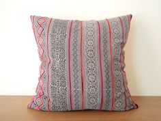 Gray and Hot Pink Vintage Hmong Batik Pillow Cover, Exotic Tribal Fabric Pillow Case, Black / White / Neon Hill Tribe Pillow Cover