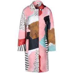Alberta Ferretti Long Coats & Jackets (12.430.115 IDR) ❤ liked on Polyvore featuring outerwear, coats, jackets, coats & jackets, tops, pastel pink, alberta ferretti, pink coat, long coat and jacquard coat