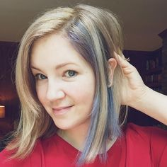 """Indigo blue streak in blonde lob. Close enough to navy to feel less """"that girl has weird blue hair"""" and more like a thoughtful accessory."""