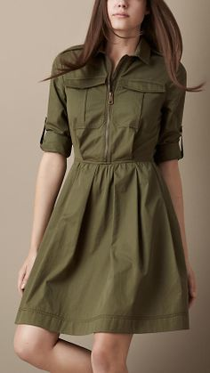 Burberry Heritage Shirt Dress with Leather Belt in Green (military green) Casual Work Outfits, Cool Outfits, Stylish Dresses, Casual Dresses, Safari Dress, Iranian Women Fashion, Kurti Neck Designs, Teen Fashion Outfits, Western Dresses