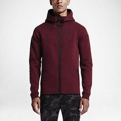 88fd60e55a4 Details about Nike Tech Fleece Windrunner Hoodie SIZE L - NEW- 545277-677  Black Heather Maroon