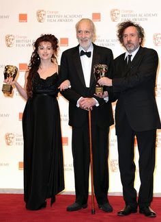 Christopher Lee, Tim Burton and Helena Bonham Carter at the BAFTA Awards