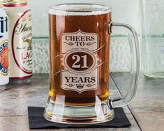 Cheers to 21 Years 16 Oz Beer Glass Mug Stein Engraved by eugenie2