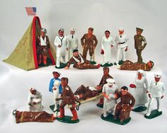 Where there is war, there are wounded, a vast variety of medical personnel were produced by all the cited manufacturers. No set is complete without a field hospital. There are a variety of tents in different sizes to complement any display Metal Company, Lead Soldiers, Toys For Boys, Tents, Vintage Toys, Wwii, Medical, Military, Display