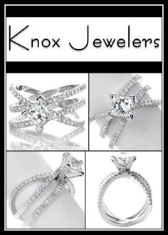 This beautiful wide design engagement ring features three interwoven bands that vary in height and angle. The 1.00 carat princess cut center diamond is kite set with chevron prongs.The three bands and the prongs of the center setting are detailed with micro pavé. Click on pin for more information.