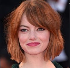 From ombre layers to chic red crop: emma stone kick-started the shorter hair trend at the venice film festival Bob Hairstyles With Bangs, Short Hairstyles For Thick Hair, Long Bob Haircuts, Short Hair With Bangs, Short Hair Cuts, Cool Hairstyles, Short Hair Styles, Shorter Hair, Haircut Short