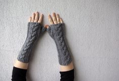 Grey Long Hand-knitted Cabled Fingerless Gloves/ Wrist Warmers.