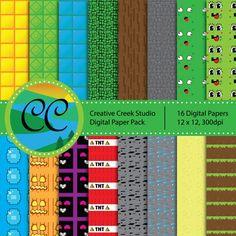 Minecraft-Inspired Scrapbooking Papers - DIY Printable   creativecreekstudio - Graphics on ArtFire