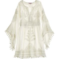 CALYPSO St. Barth Playla Hand Embroidered Dress ($959) ❤ liked on Polyvore featuring dresses, short dresses, tops, vestidos, white embroidered dress, bohemian dress, mini bride dresses and short white dresses