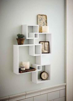 Intersecting Squares Floating Shelf 2 LED Candles Included White Finish | Home & Garden, Home Décor, Wall Shelves | eBay!