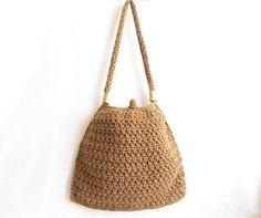 Caramel crochet tote bag Handmade crochet handbag by aynikki, $55.00