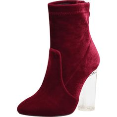 Wine Red 40 Lucite Heel Velvet Ankle Boots ($25) ❤ liked on Polyvore featuring shoes, boots, ankle booties, red short boots, wine booties, bootie boots, red booties and perspex boots