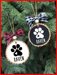 "This wood slice ornament is a great addition to your tree, or as a gift! This wood slice ornament is perfect for that dog lover in your life, or to celebrate your new pet! Made with a large wood slice, chalk paint, wood bead, ribbon, vinyl, and sealed with water based sealant to ensure that it stands up to wear over time. Wood slices range from 2.5-4"" in diameter and vary in shape, ranging from round, to pear shaped. These ornaments are made to christmas crafts to sell handmade gifts"