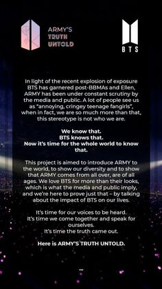 I really wish people would stop shaming ARMYS and I really do hope this project can open their eyes to the fact that ARMY is more than just fangirls. Bts Song Lyrics, Bts Lyrics Quotes, Bts Qoutes, Bts Blackpink, Bts Bangtan Boy, Bts Art, Bts Theory, Bts Wallpaper Lyrics, Bts Book